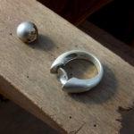 Silberring mit Perle - vorher